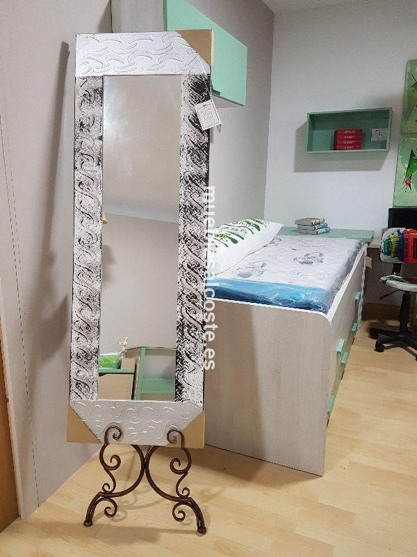 Espejo conmoldura blanco y plata