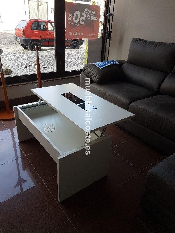 Mesa centro elevable lacado color blanco