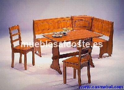 Conjunto banco rinconera mesa y sillas cod 2564 - Rinconeras de madera ...