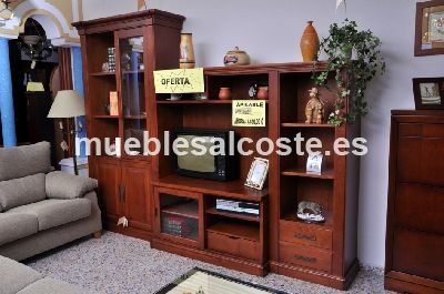 Salon modular en madera maciza color cerezo cod 1478 for Muebles salon madera maciza