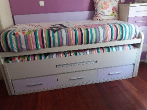 compacto juvenil  de dos camas con cajones