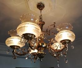 Lámpara de techo de 5 tulipas de cristal