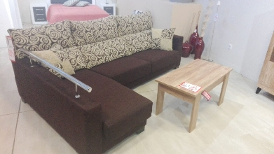 sofa chaisselongue tapizado marron
