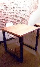 Mesa madera y hierro cuadrada