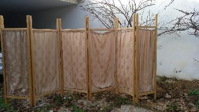 biombo madera y tela vintage