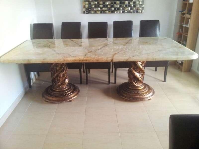 Mesa de marmol travertino 12 comensales cod 19341 segunda - Mesa marmol travertino ...