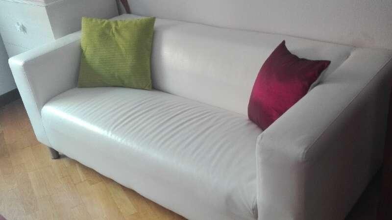 Sof polipiel blanco cod 18430 segunda mano - Sofa blanco polipiel ...