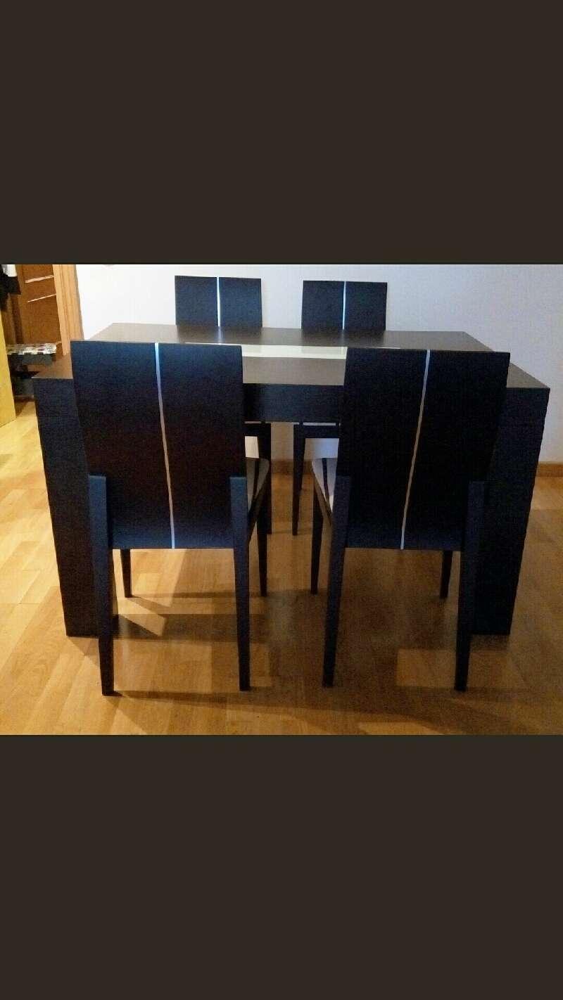 Conjunto de 2 mesas y 4 sillas de comedor madera maciza for Conjunto de mesa y sillas de comedor