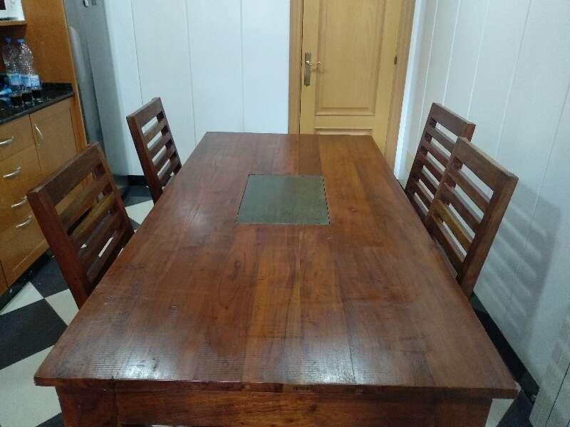 Juego de comedor madera maciza cod:28771 segunda mano, Mueblesalcoste.es