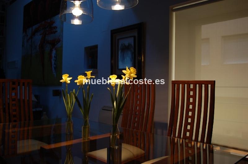 Mesa de comedor cristal y madera como escultura 6 sillas tapizadas cod 12878 segunda mano - Mesa comedor cristal y madera ...