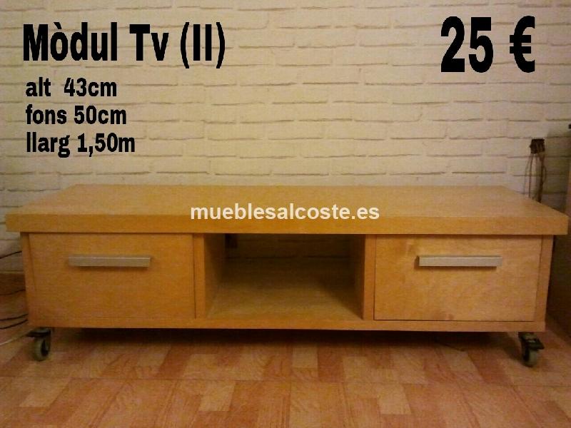 Mueble Tv Estilo Madera Acabado Chapa Natural Cod 13181