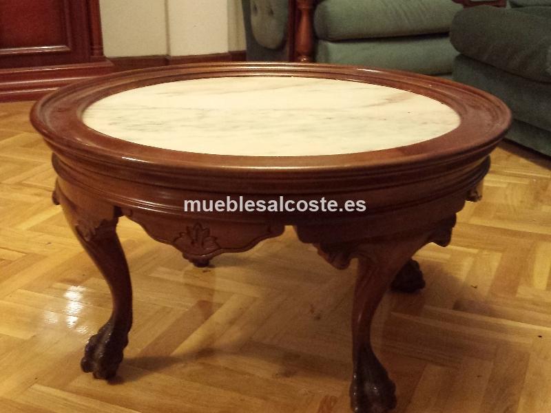 Mesa baja redonda en madera y marmol cod 13217 segunda - Mesas mosaico segunda mano ...