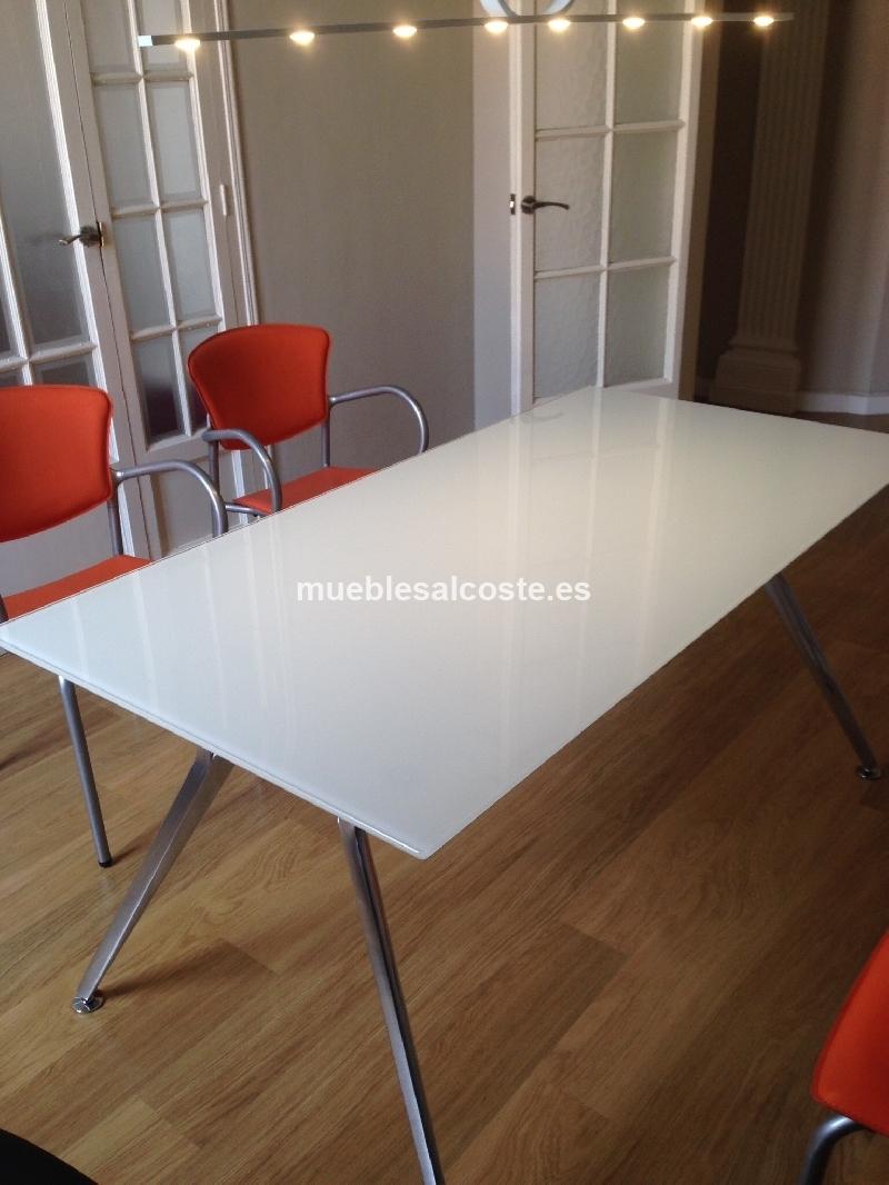 Mesa cristal blanco estructura aluminio pulido cod 13258 - Mesa cristal blanco ...