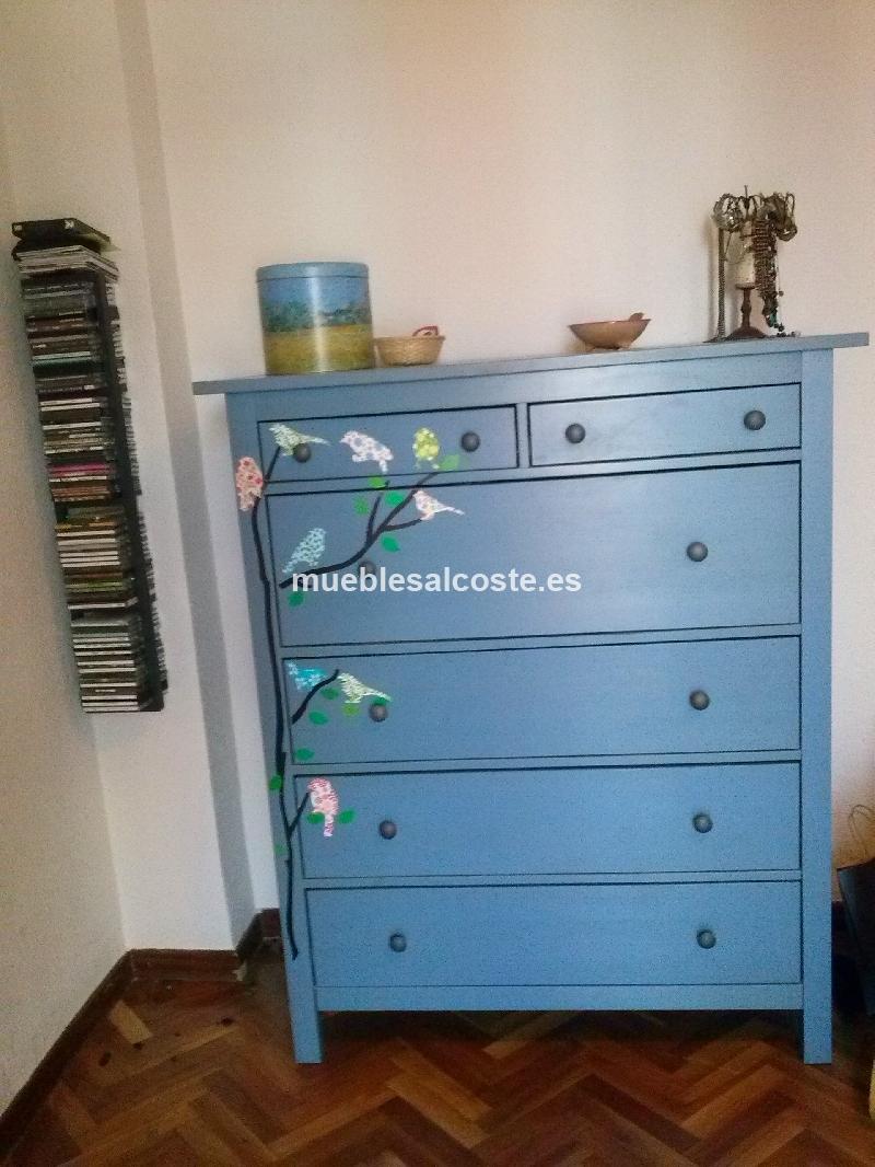 Comoda azul con vinilo de p jaros cod 14119 segunda mano - Comodas segunda mano ...