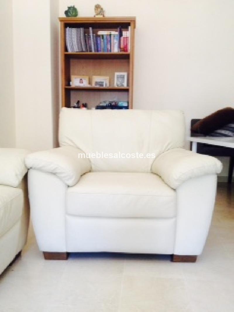 Conjunto sofa sillon piel blanco cod 14214 segunda mano - Sofa piel blanco ...