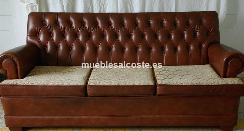 Tresillo de polipiel color caramelo capitone cod 14228 for Sofas el tresillo