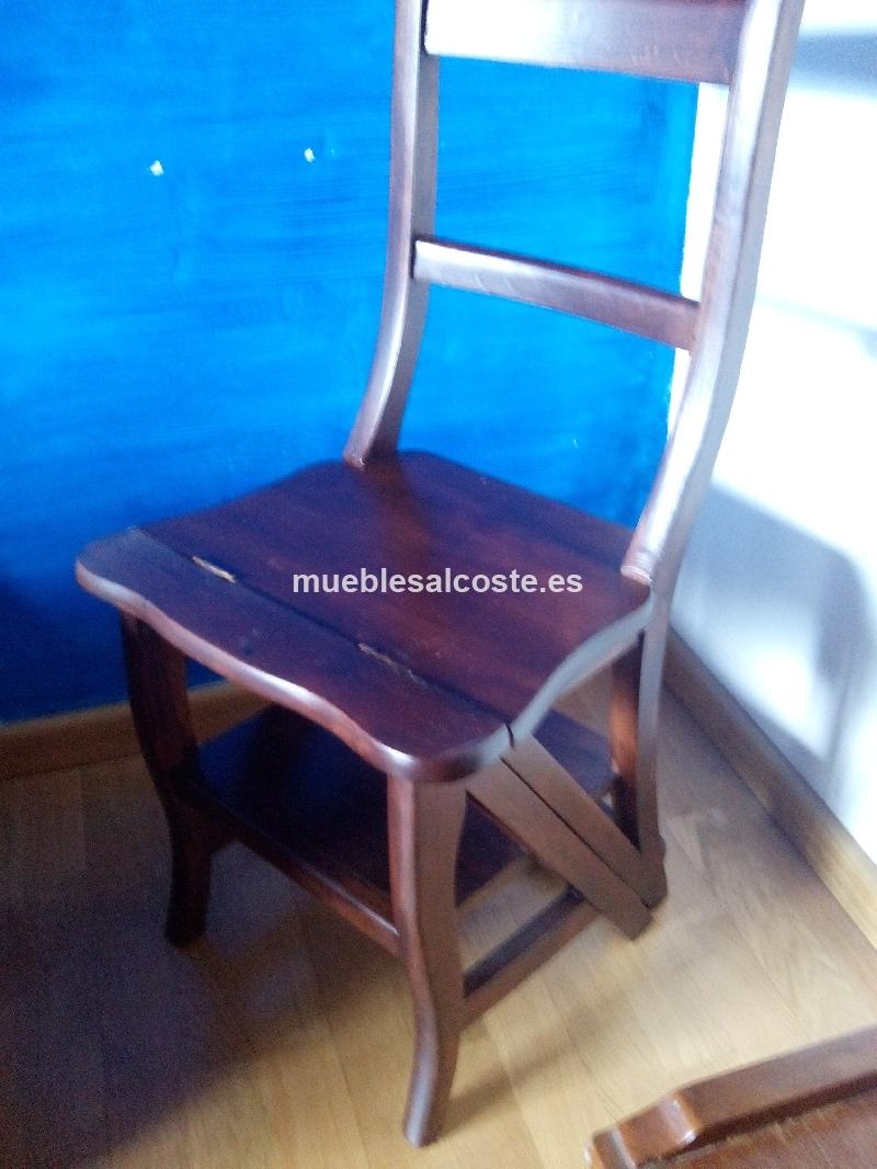 Silla escalera estilo colonial acabado madera cod 14283 for Silla convertible en escalera