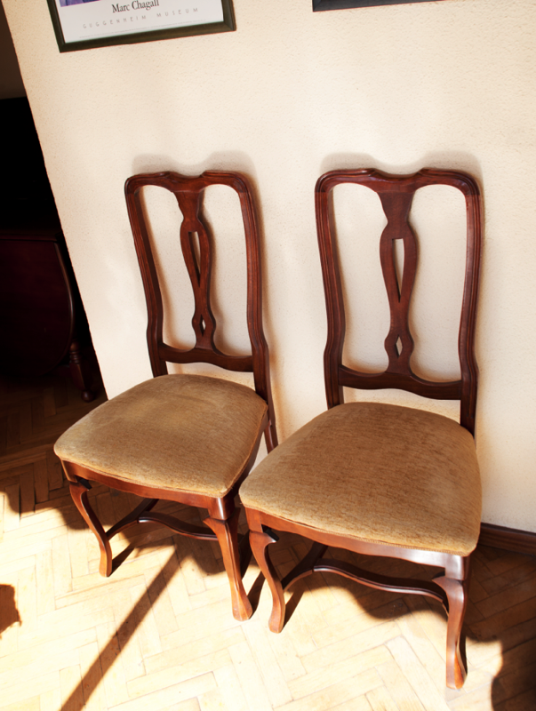 Pack 4 sillas tapizadas salon cod 14799 segunda mano for Sillas salon tapizadas