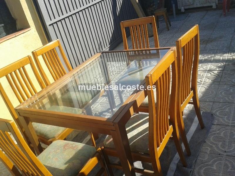 Mesa comedor extensible de madera 6 sillas cod 14830 - Mesa comedor extensible segunda mano ...