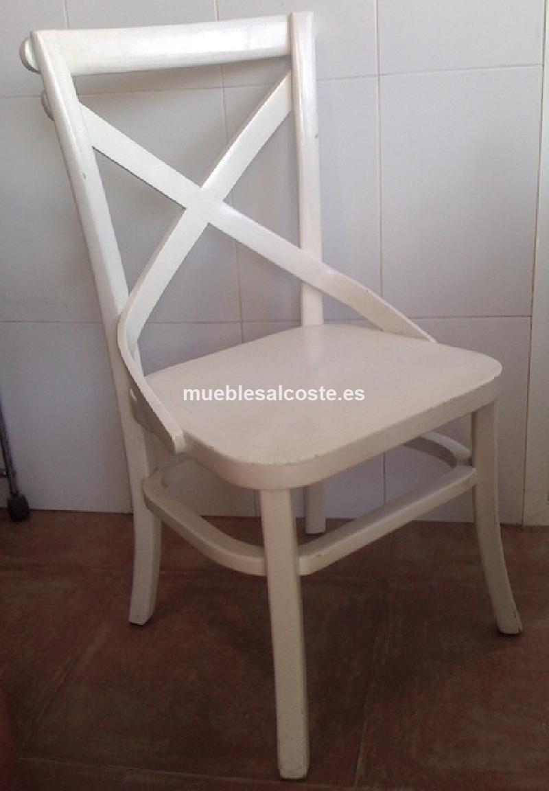 Mesa blanca de madera extensible sillas cod 14908 segunda mano - Mesa blanca y madera ...