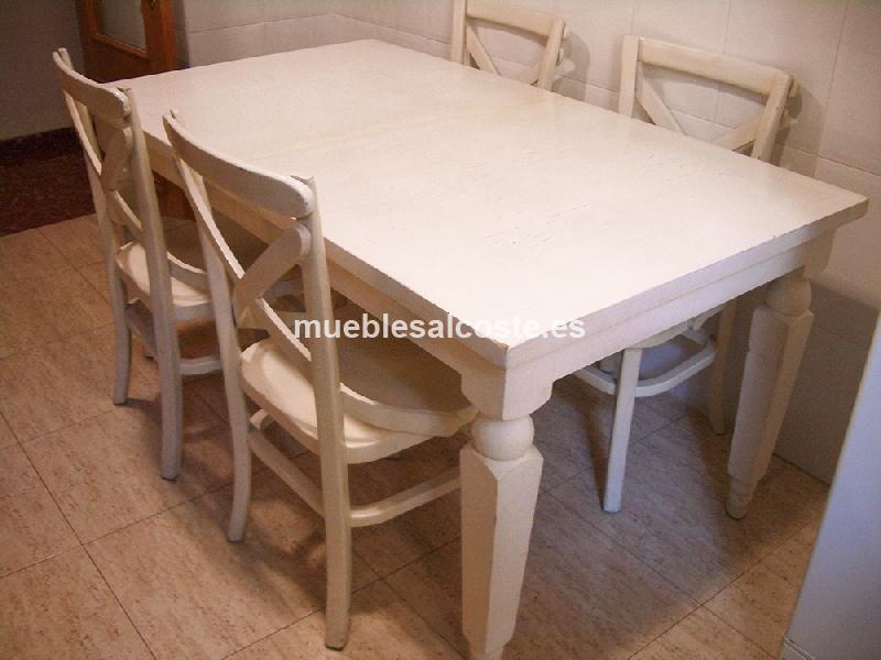Mesa blanca de madera extensible sillas cod 14908 segunda mano - Mesa blanca extensible ...