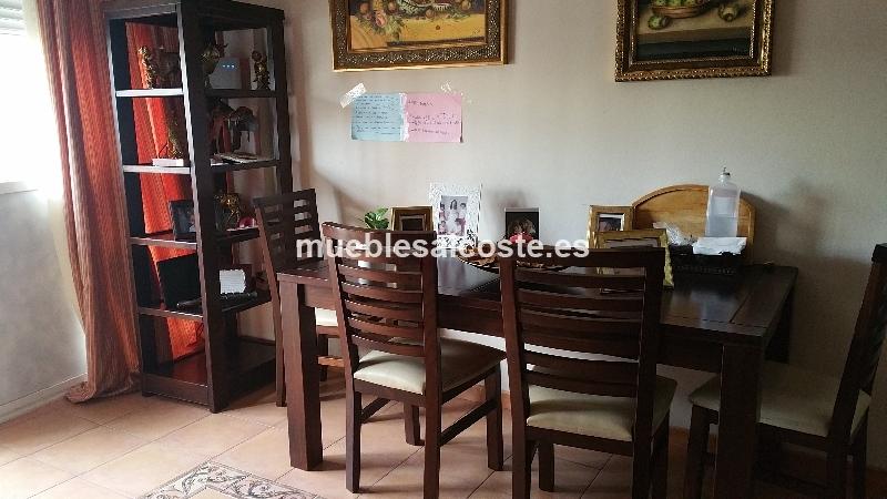 Muebles de salon de pino color nogal cod 15056 segunda for Muebles salon color nogal
