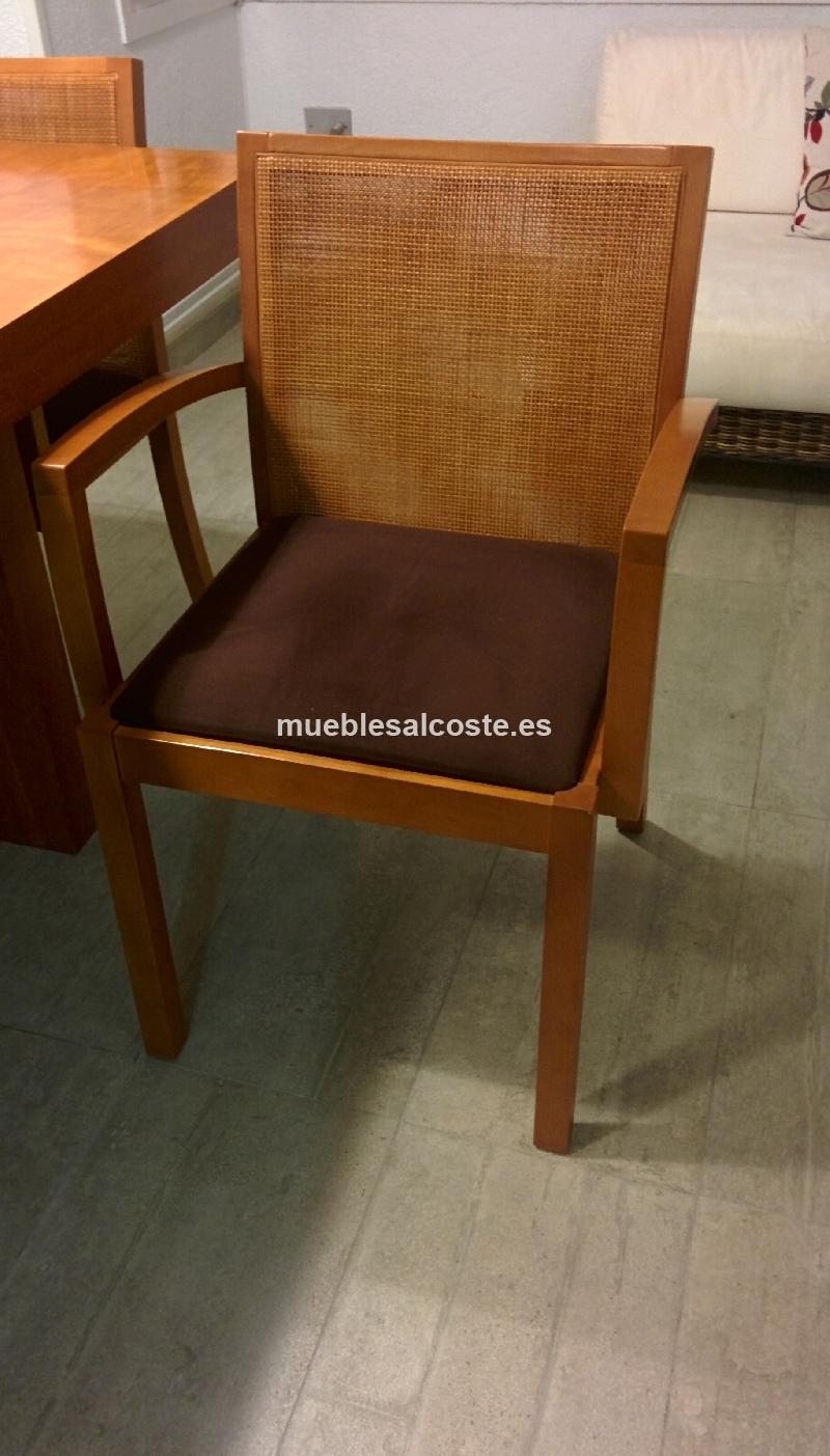 Mesa madera cerezo 200x100 4 sillas cod 15151 segunda for Sillas madera segunda mano