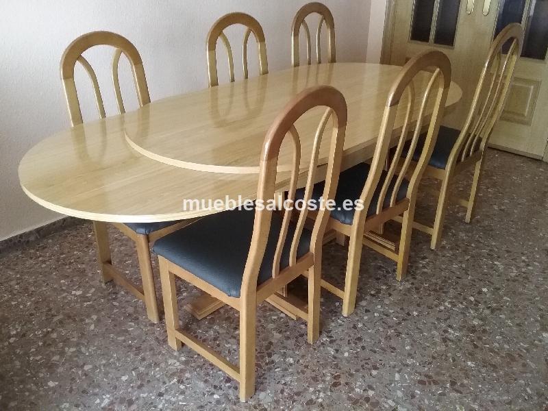 Mesa de comedor extensible y seis sillas recien tapizadas ...