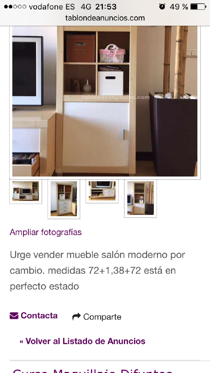 Mueble salon moderno cod 15321 segunda mano for Mueble salon segunda mano