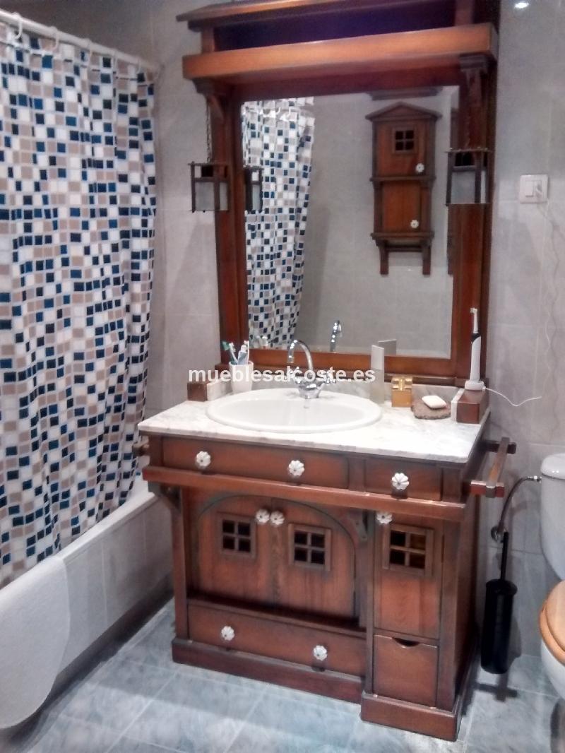 Armario bano estilo colonial acabado madera cod 15476 - Armarios de bano de segunda mano ...