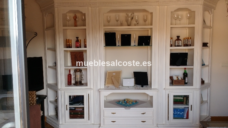 Mueble rustico de salon en color blanco cod 15676 segunda for Muebles rusticos blancos