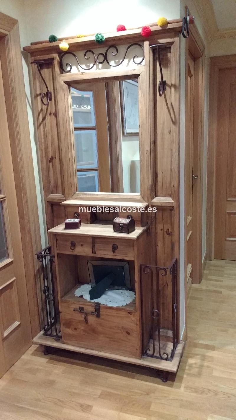 Mueble recibidor rustico cod 15677 segunda mano for Mueble auxiliar rustico