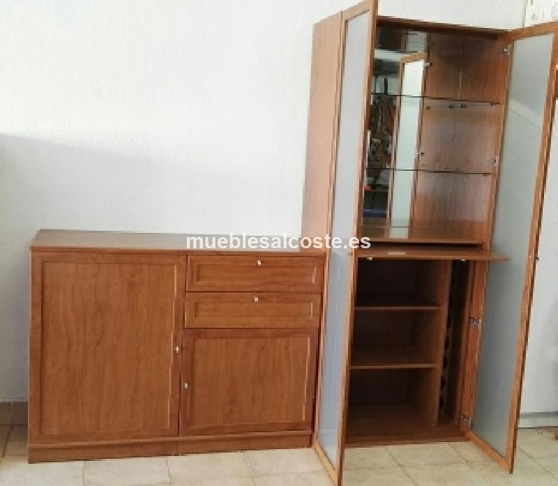 Mueble botellero salon de madera maciza cod 17770 segunda for Muebles salon madera maciza modulares