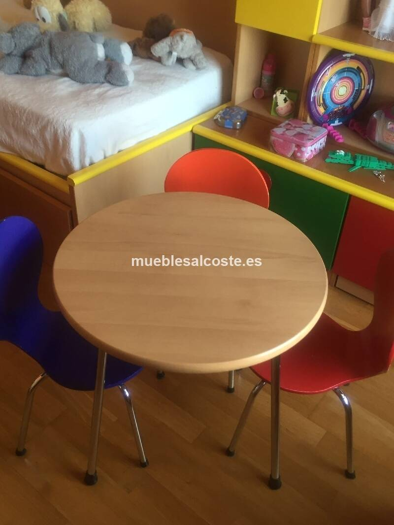 Mesa redonda infantil con tres sillas cod 17865 segunda mano - Mesa redonda con sillas ...
