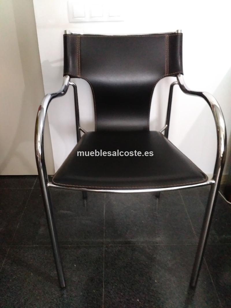 Mesa de cristal 2 sillas piel cod 18101 segunda mano for Sillas de escritorio segunda mano