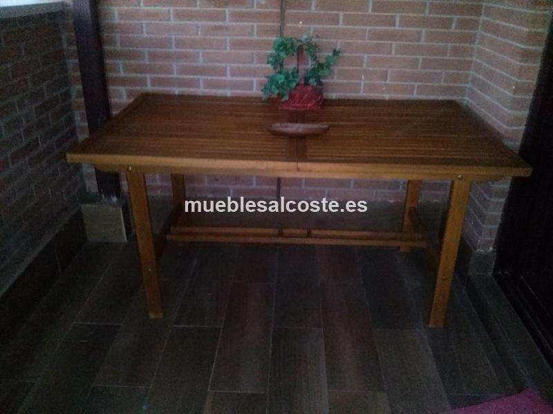 Mesa y sillas de madera exterior cod 18336 segunda mano - Mesa madera exterior ...