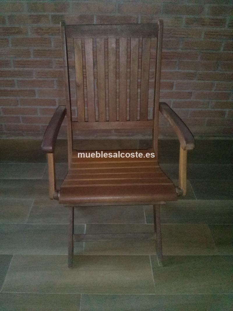 Mesa y sillas de madera exterior cod 18336 segunda mano for Sillas de madera para exterior