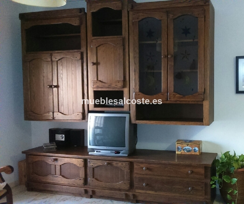 Mueble de madera de roble con vitrina cod 18437 segunda - Muebles de madera de roble ...