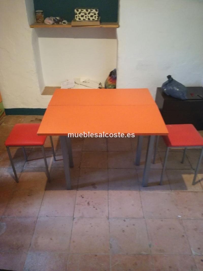 mesa naranja cocina plegable cod:18696 segunda mano, Mueblesalcoste.es