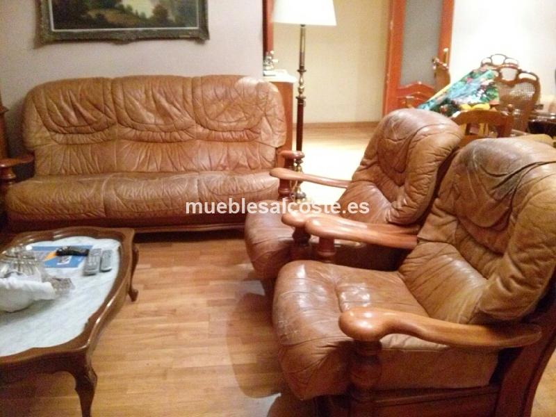 Sofa y sillones madera y piel cod 19401 segunda mano for Sofas y sillones de piel