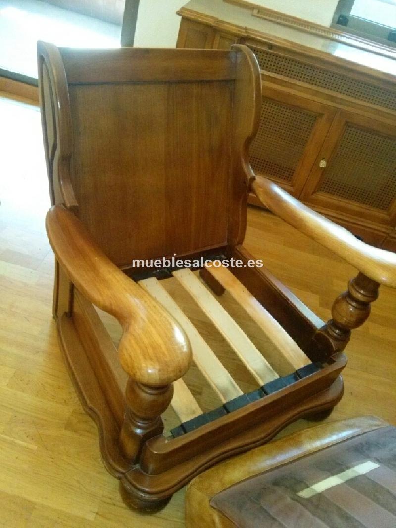 Sofa y sillones madera y piel cod 19401 segunda mano - Sillones de segunda mano en madrid ...