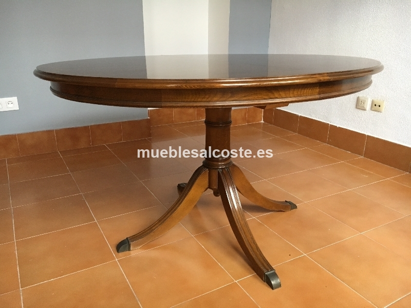 Mesa redonda madera extensible 6 sillas cod 19420 for Mesa salon redonda extensible