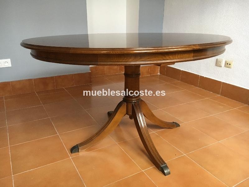 Mesa redonda madera extensible 6 sillas cod 19420 for Mesas de comedor extensibles de madera