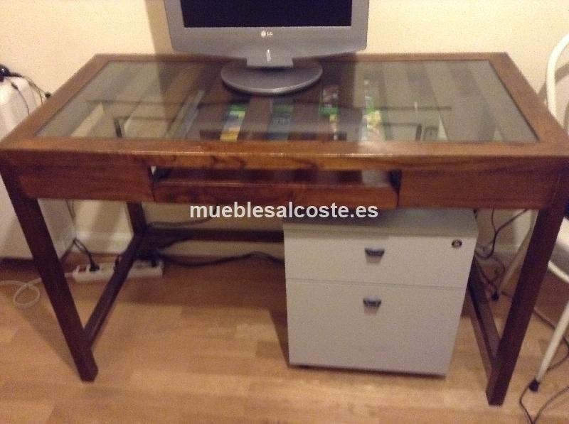 Mesa de ordenador con cristal cod 19863 segunda mano - Mesas ordenador segunda mano ...