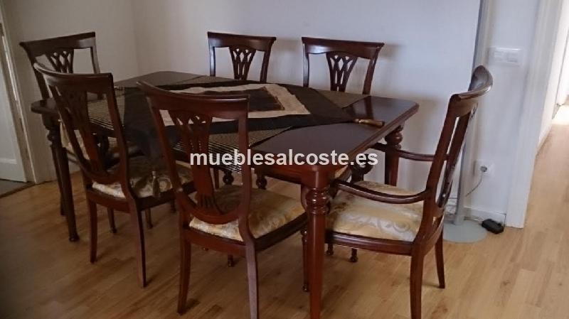 MESA COMEDOR, SILLAS, MUEBLE CUBIERTOS MADERA NOGAL cod:20293 ...