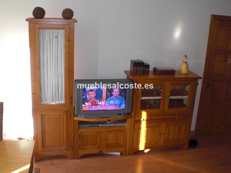 Conjunto 5 muebles de salon madera pino cod 11581 segunda for Muebles de pino segunda mano