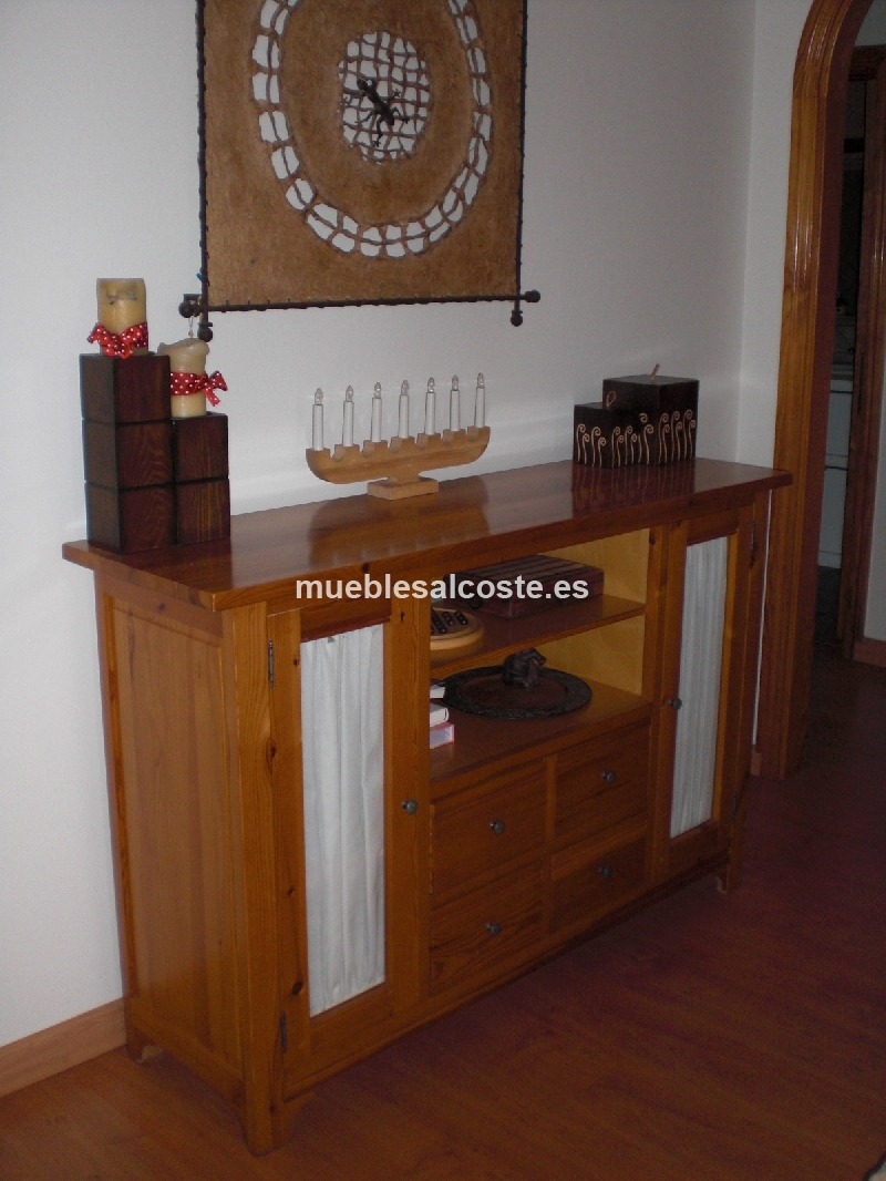 Conjunto 5 muebles de salon madera pino cod 11581 segunda - Muebles en madera de pino ...