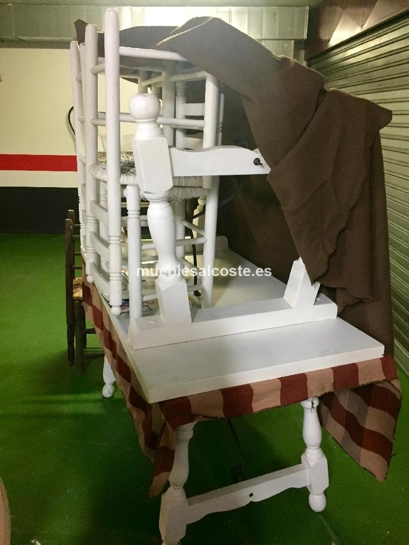 2 mesas y 6 sillas madera maciza estilo rustico cod 20765 for Sillas madera segunda mano