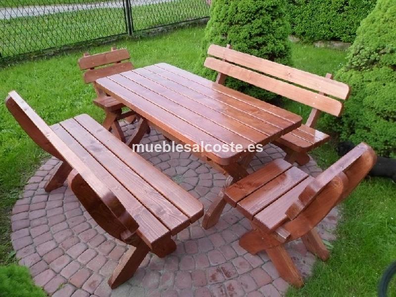 Muebles jardin madera cod 21046 segunda mano for Conjunto jardin madera
