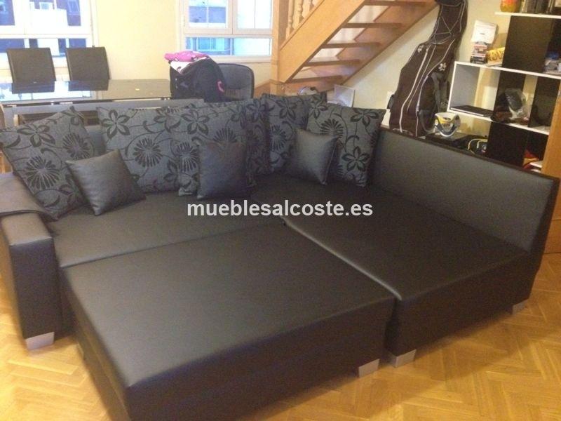 Sofá seminuevo negro con chaise longue